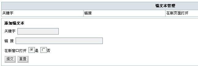 Zblog锚文本插件管理页面